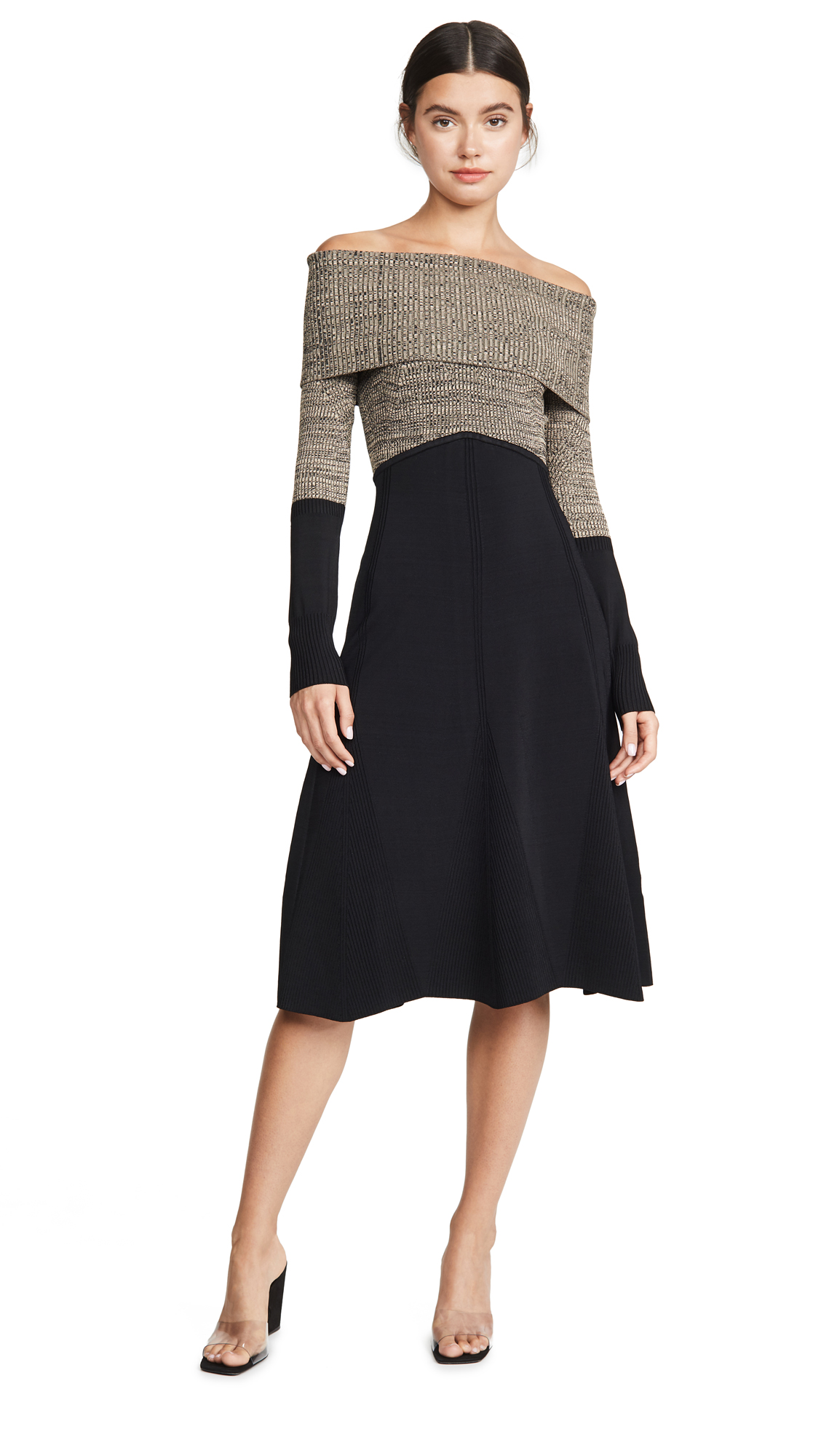 Buy Yigal Azrouel online - photo of Yigal Azrouel Colorblock Off Shoulder Midi Dress