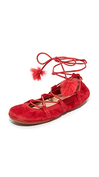 Yosi Samra Seleste Lace Up Flats - Garnet Red