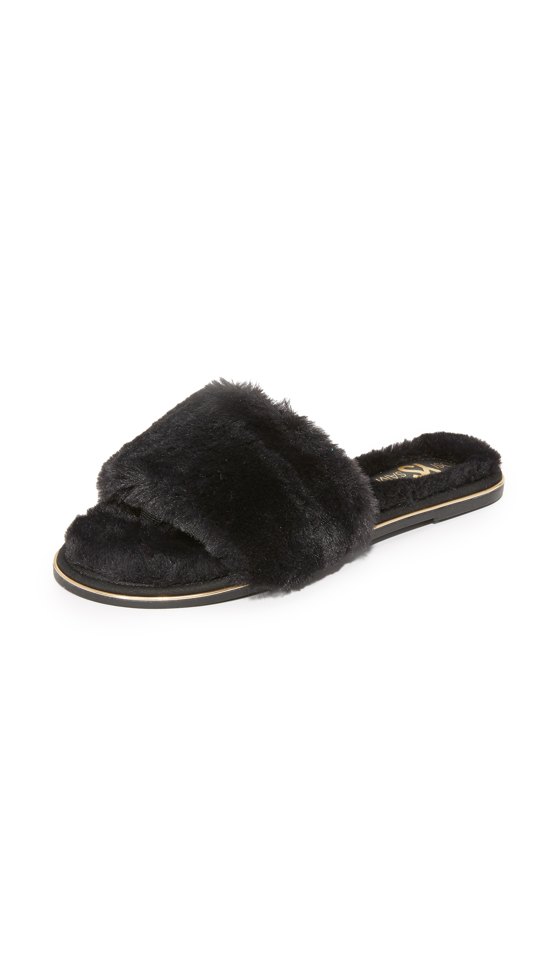 Plush faux fur adds glam appeal to these casual Yosi Samra slides. Hidden toe strap and rubber sole. Fabric: Faux fur. Imported, China. This item cannot be gift boxed. Available sizes: 5,6,10