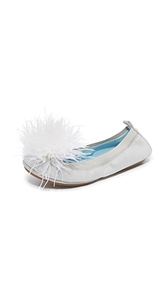 Yosi Samra HITCHED by Yosi Samra Marry Me Marabou Flats - Silver/White