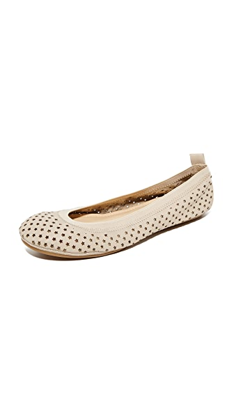 Yosi Samra Samara Star Perforated Flats - Creme Brulee