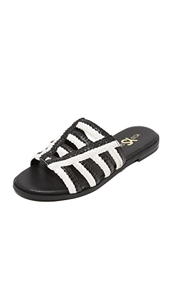 Yosi Samra Molly Braided Slides - Black/White