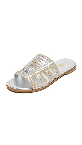 Yosi Samra Molly Braided Slides - Metallic Multi