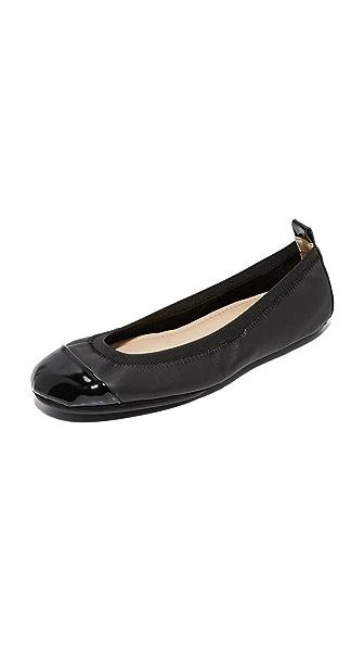 Yosi Samra Samantha II Cap Toe Flats In Black/Black