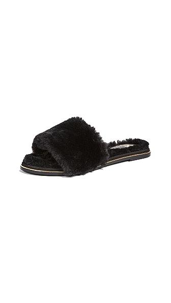 Yosi Samra Rose Faux Fur Slides In Black