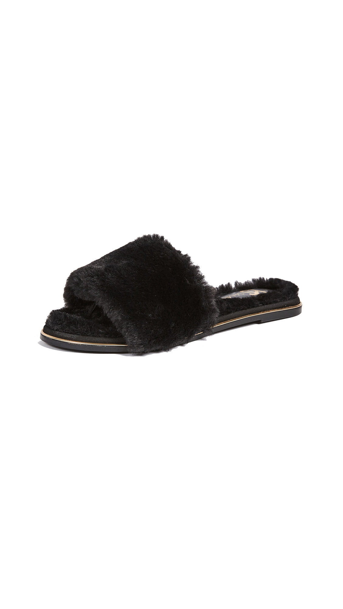 Yosi Samra Rose Faux Fur Slides - Black