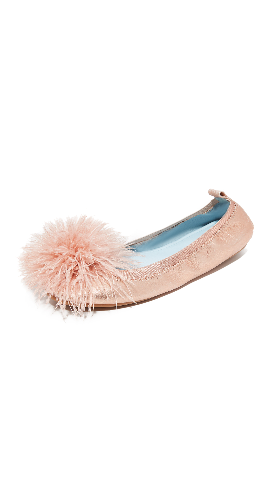 Yosi Samra HITCHED Marry Me Marabou Flats - Rose Gold/Blush