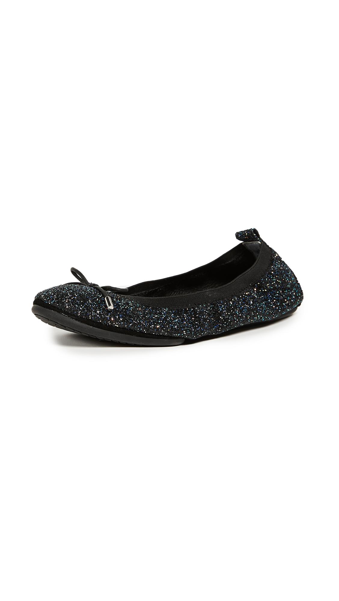 Yosi Samra Sandrine Glitter Flats - Black