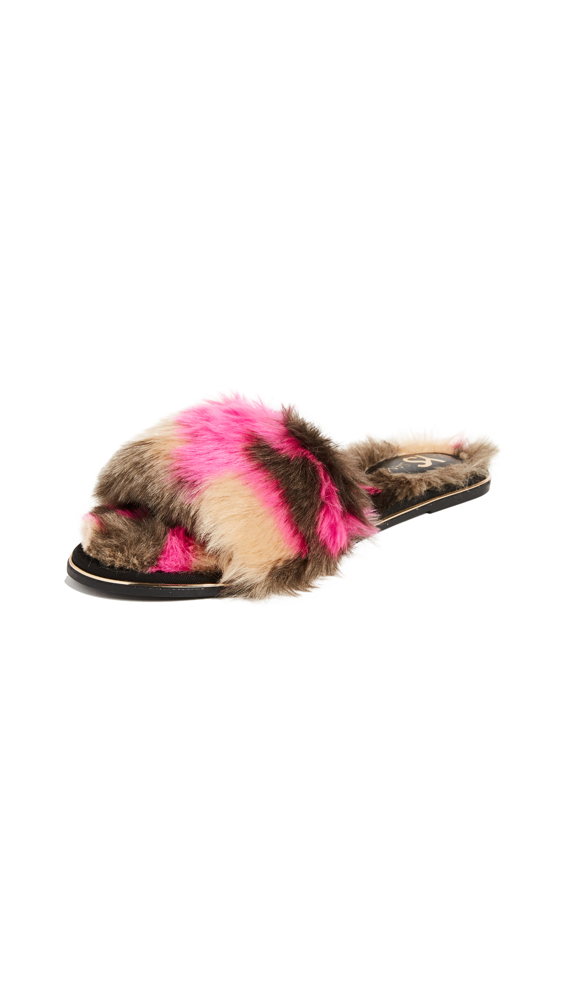 Yosi Samra Rose Slides - Grey/Fuchsia