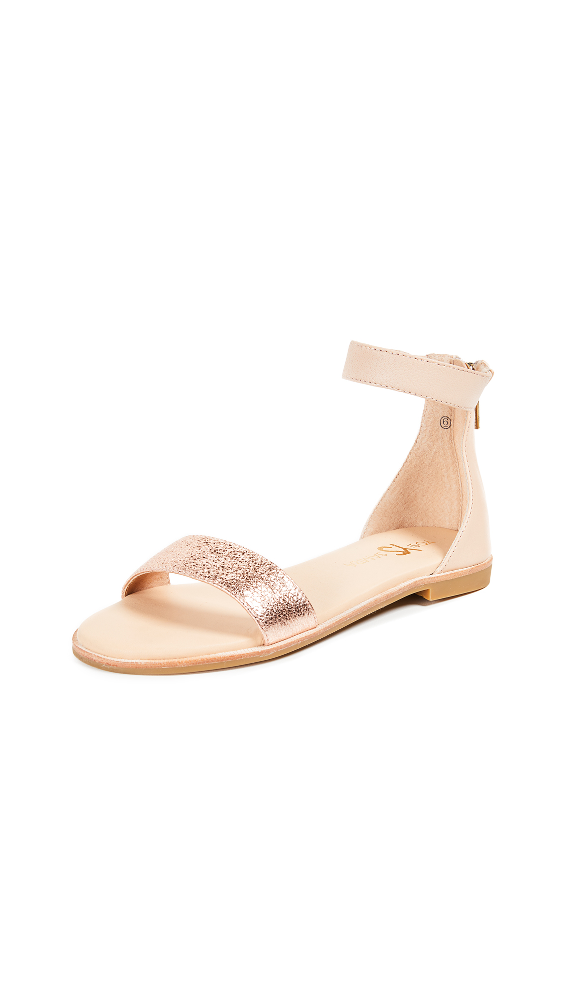 Yosi Samra Cambelle Ankle Strap Sandals In Nude/Rose Gold