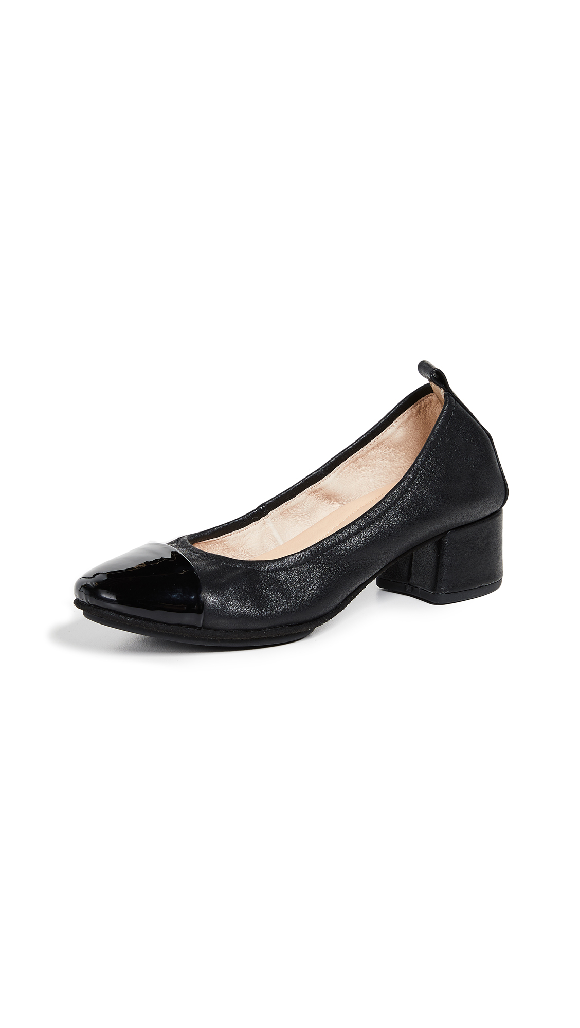 Yosi Samra Newton Cap Block Heel Pumps - Black
