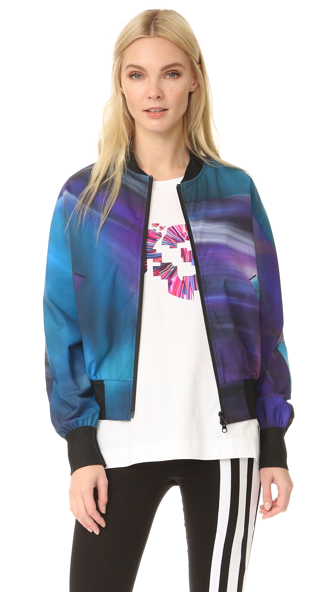 Streaks of vivid color lend a lively look to this sporty Y 3 bomber jacket. Banded edges. Welt hip pockets. Two way front zip. Fabric: Technical weave. Shell: 100% polyester. Trim: 95% polyester/5% polyurethane. Wash cold. Imported, China. Measurements