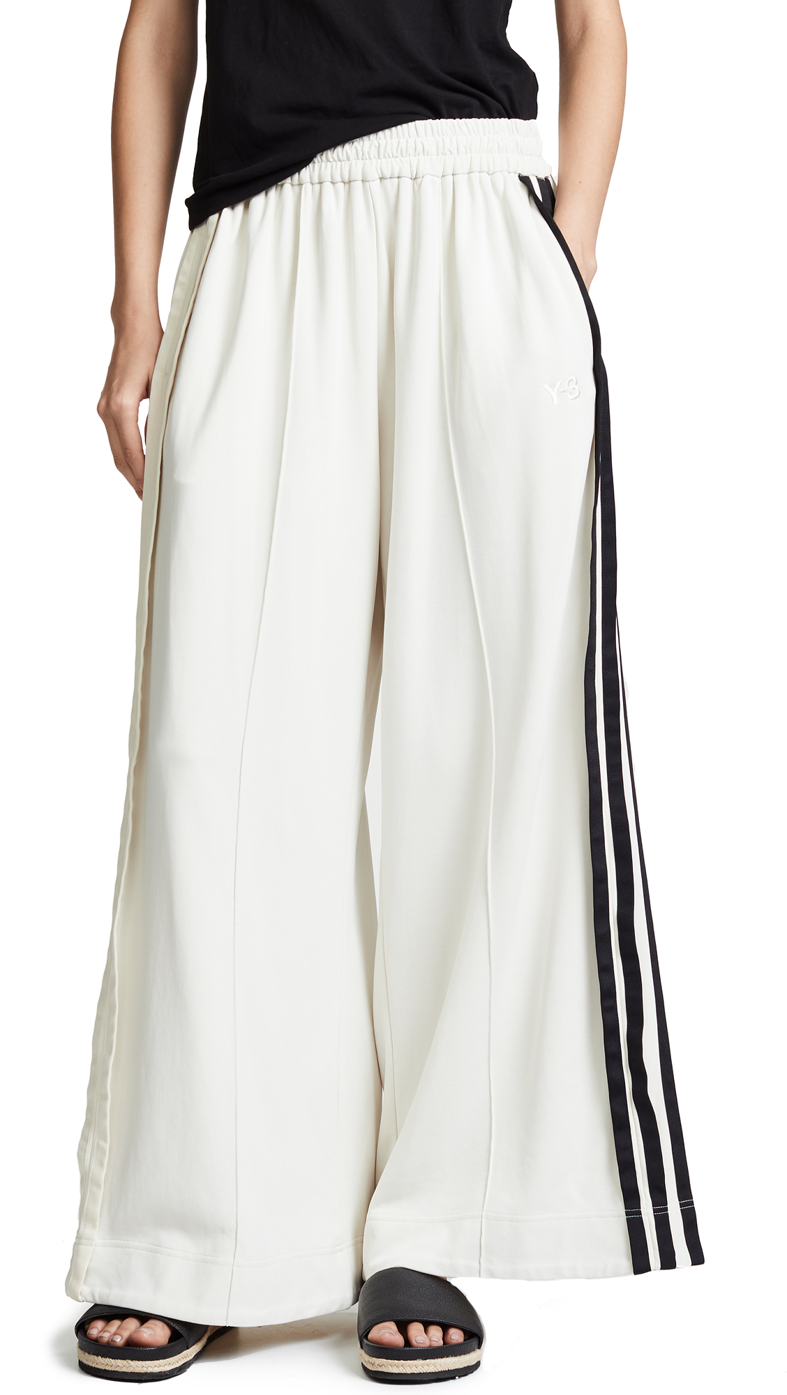 Wide-Leg Side-Stripe Cotton-Blend Trousers, Champagne/Black