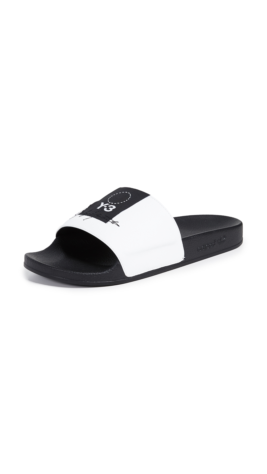 Men'S Adilette Slide Sandals, White/ Black