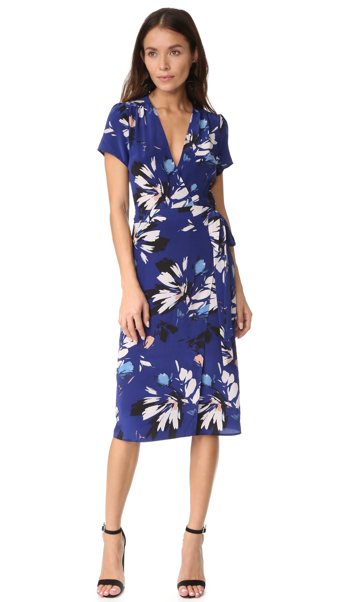 Yumi Kim Caught In The Midi Wrap Dress - Sienna Fiesta Navy