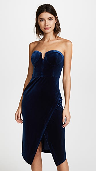 Yumi Kim Navy Blue Velour Allure Dress
