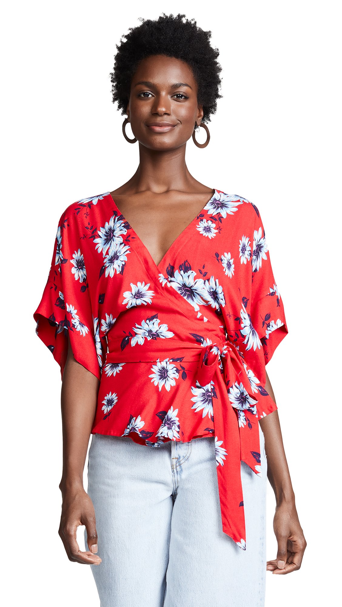 YUMI KIM That'S A Wrap Floral-Print Kimono Top in Finders Keepers Red