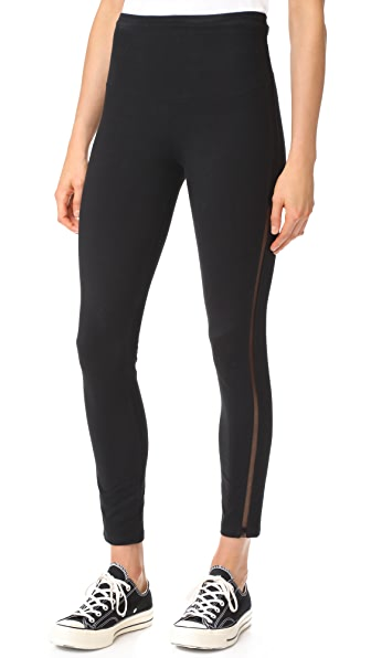 Yummie Leggings with Mesh Elastic Sides In Black