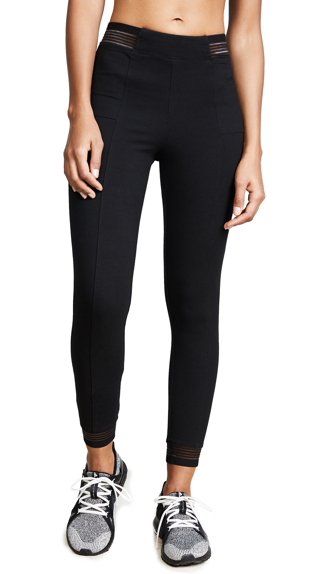 Yummie Ankle Leggings with Stripes - Black