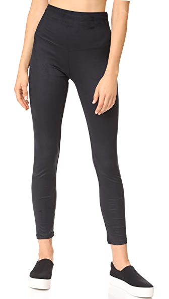 Yummie Faux Suede Signature Leggings In Black