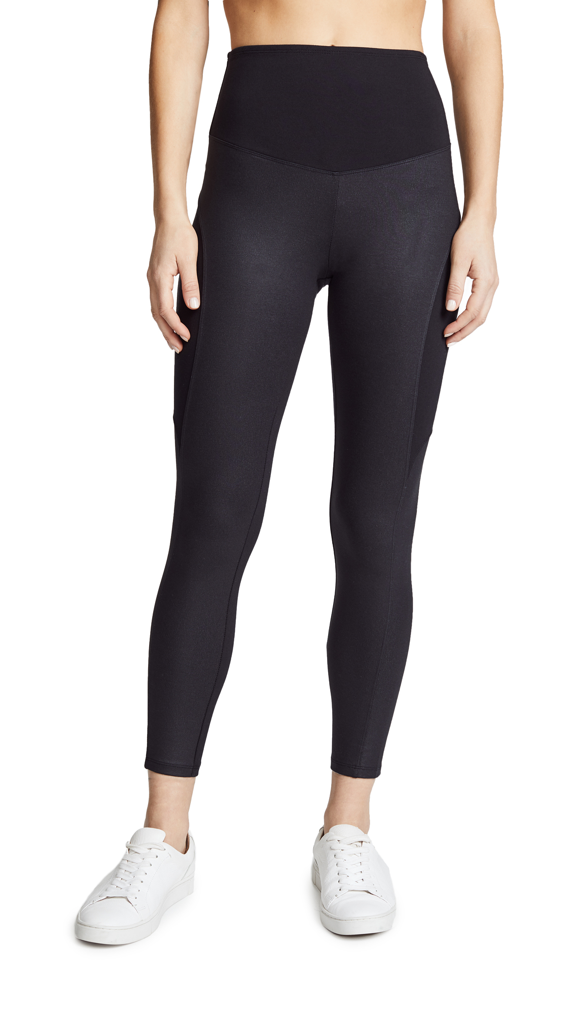 Coated Side Panel Ankle Leggings