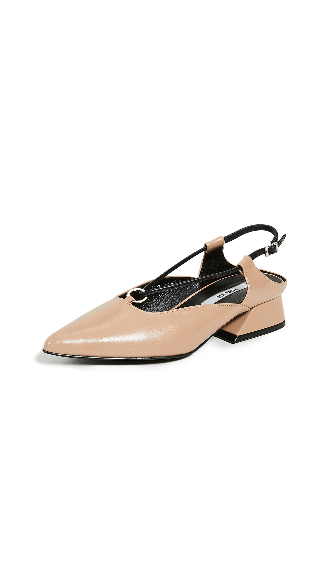 Yuul Yie Sling Back Y-Heels - Light Beige/Black