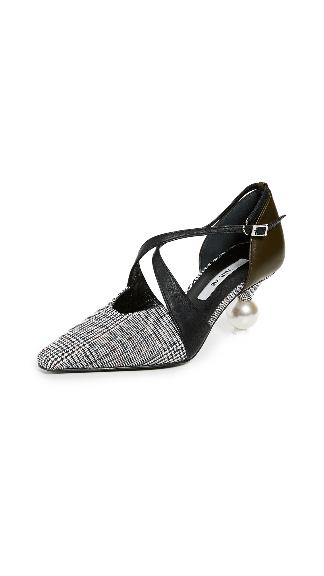 Yuul Yie Ankle Strap Cocktail Heels - Green Check/Olive/Black