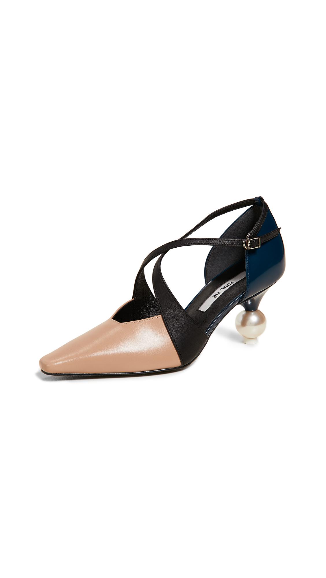 Yuul Yie Ankle Strap Cocktail Heels - Beige/Navy/Black