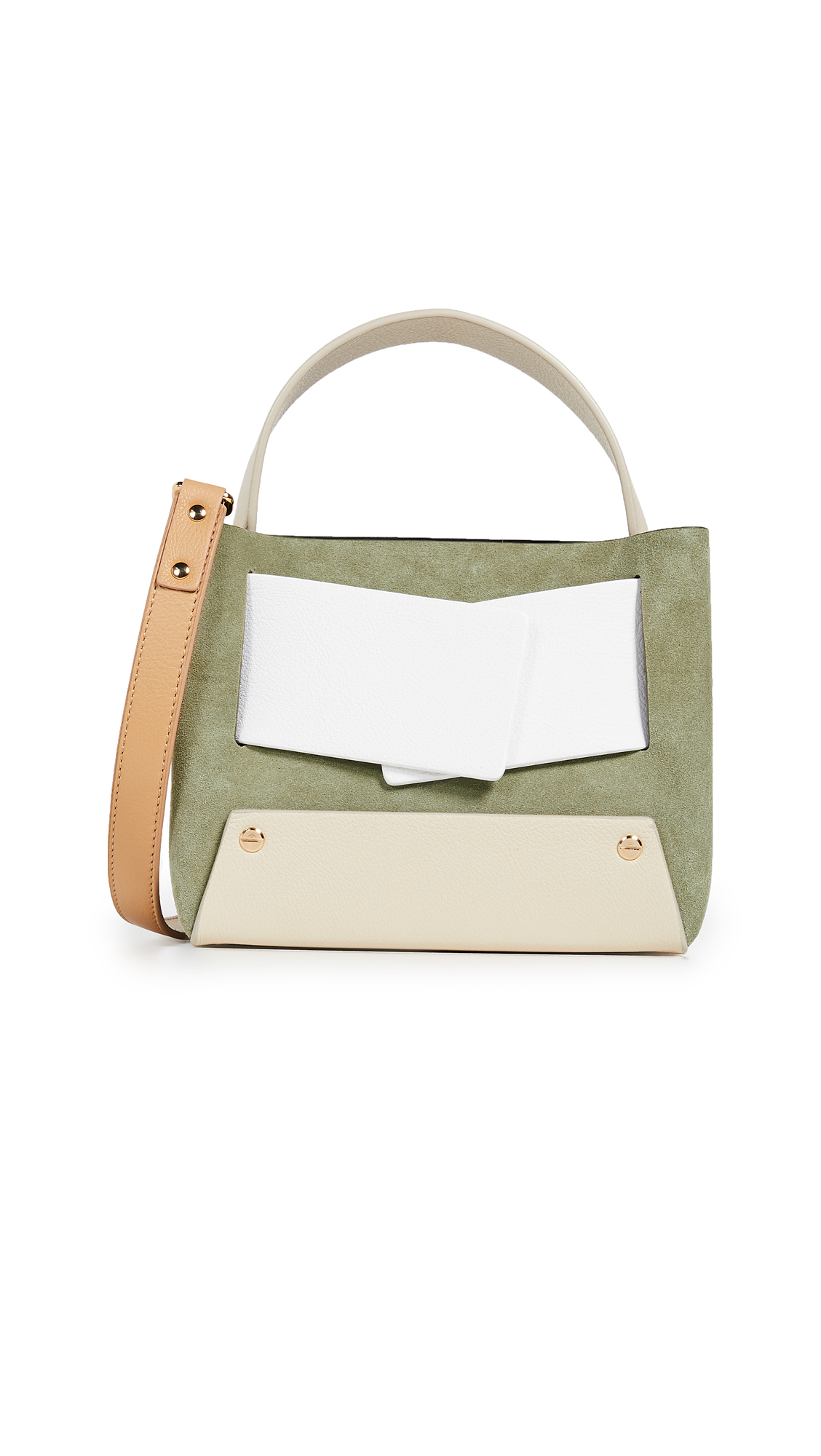 Dinky Crossbody Bag - Green, Bamboo/ Bianco