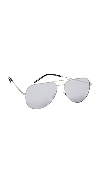 Saint Laurent Classic 11 Mineral Glass Sunglasses - Silver/Smoke
