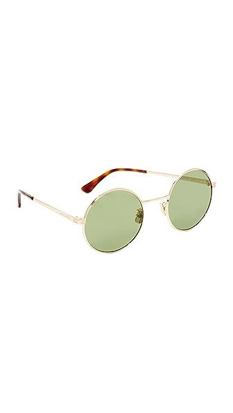 Saint Laurent Круглые солнцезащитные очки SL 136 Zero Base с минеральными линзами