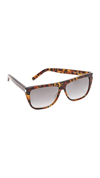 Saint Laurent SL 1 Flat Top Sunglasses - Havana Baby Cat/Grey