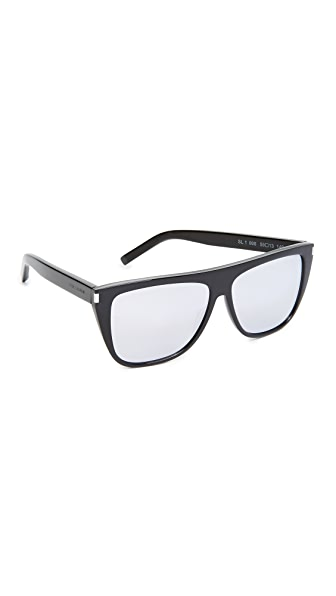Saint Laurent SL 1 Sunglasses - Black/Silver