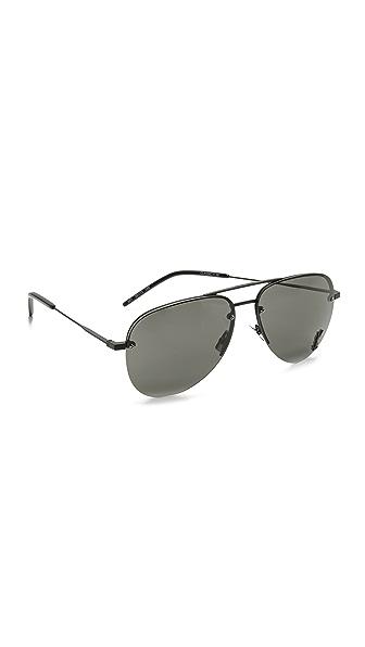 Saint Laurent Classic 11 Sunglasses - Semi Matte Black/Gray