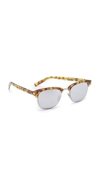 Saint Laurent SL 108 Slim Mirrored Sunglasses - Blonde Havana/Silver