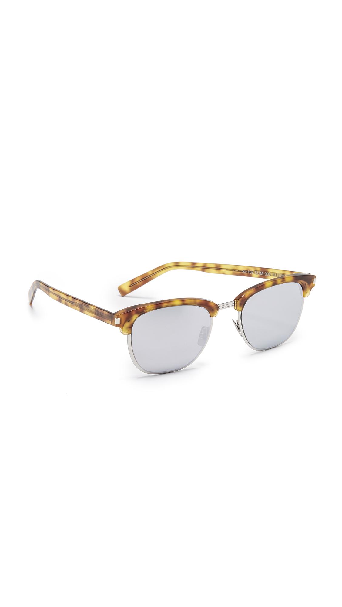 Saint Laurent SL 108 Slim Mirrored Sunglasses In Blonde Havana/Silver