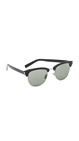 Saint Laurent SL 108 Slim Sunglasses - Black/Green