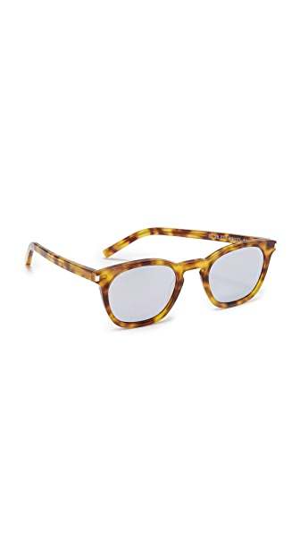 Saint Laurent SL 28 Sunglasses In Blonde Havana/Silver White
