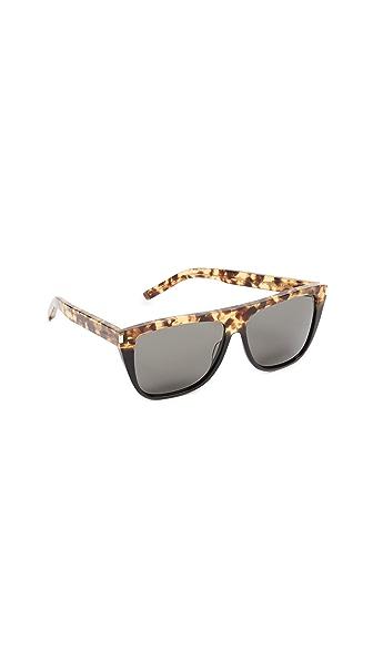 Saint Laurent SL 1 Sunglasses In Green Havana Black/Grey