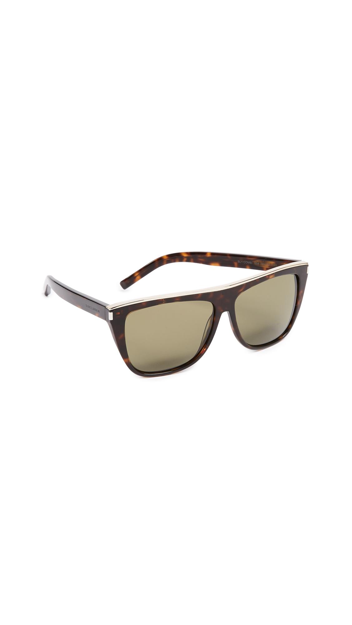 Saint Laurent SL 1 Mineral Glass Combi Sunglasses In Dark Havana Gold/Green