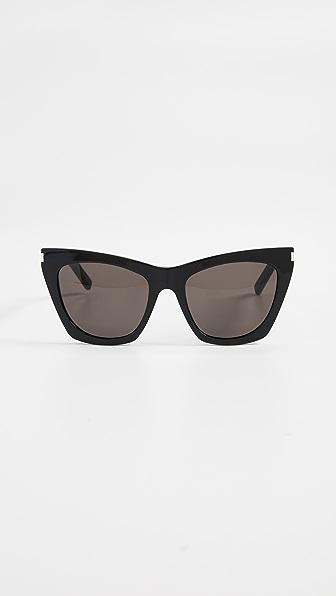 Saint Laurent Kate Cat Eye Sunglasses In Black/solid Grey