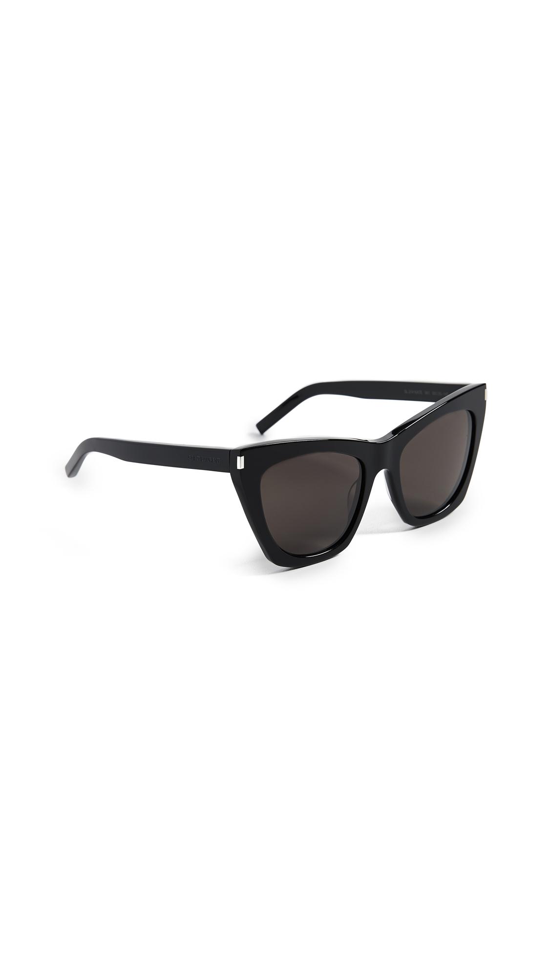3e7b8842fbd Saint Laurent Kate Cat Eye Sunglasses In Black Solid Grey