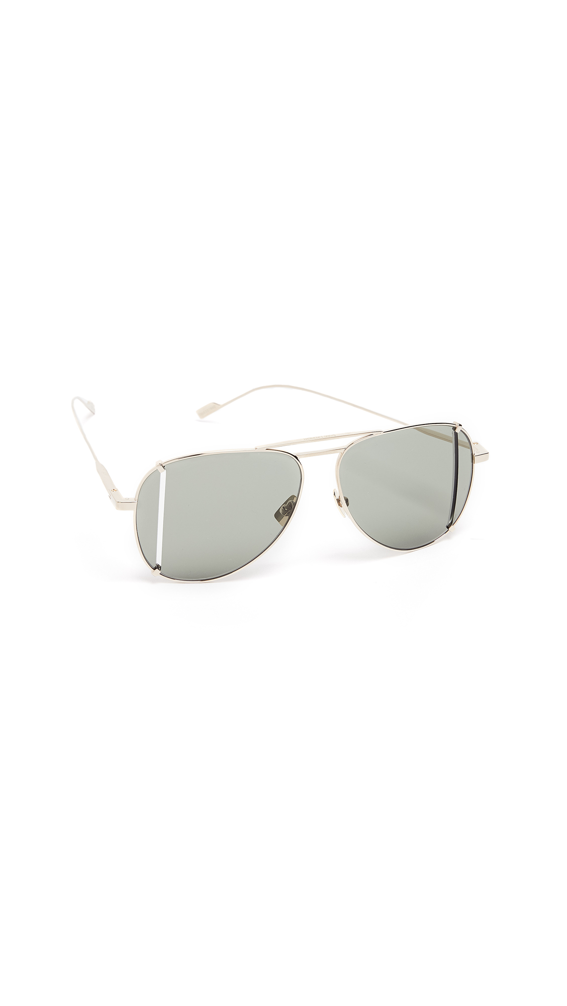 Saint Laurent SL 193 Aviator Sunglasses In Gold/Solid Green