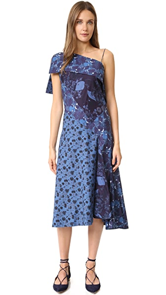 Zac Posen One Shoulder Dress - Blue Multi
