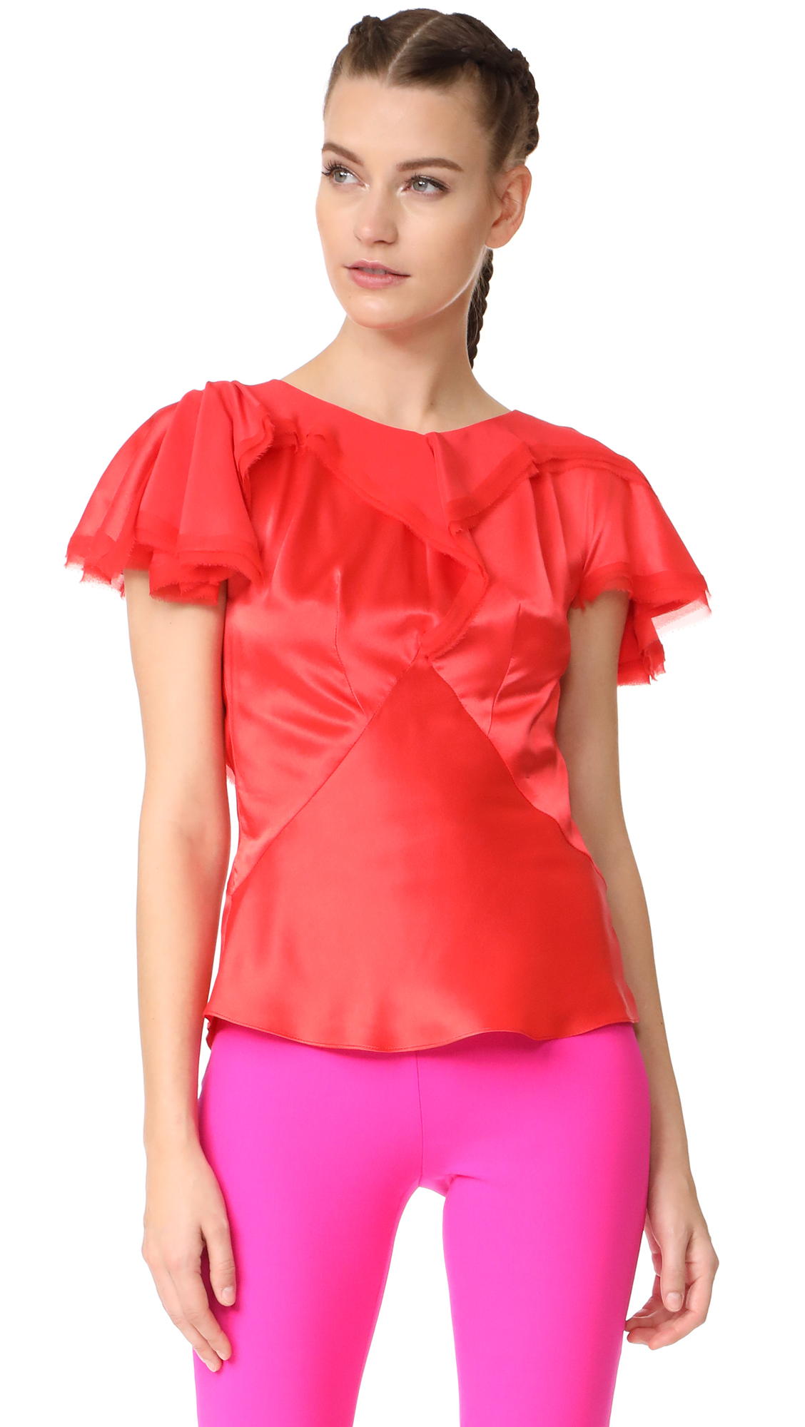 Zac Posen Short Sleeve Blouse - Coral