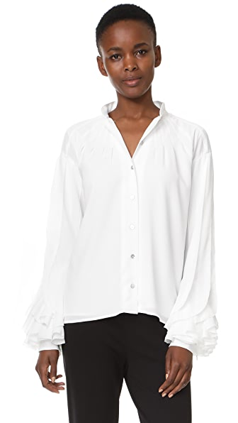 Zac Posen Crepe Blouse In White