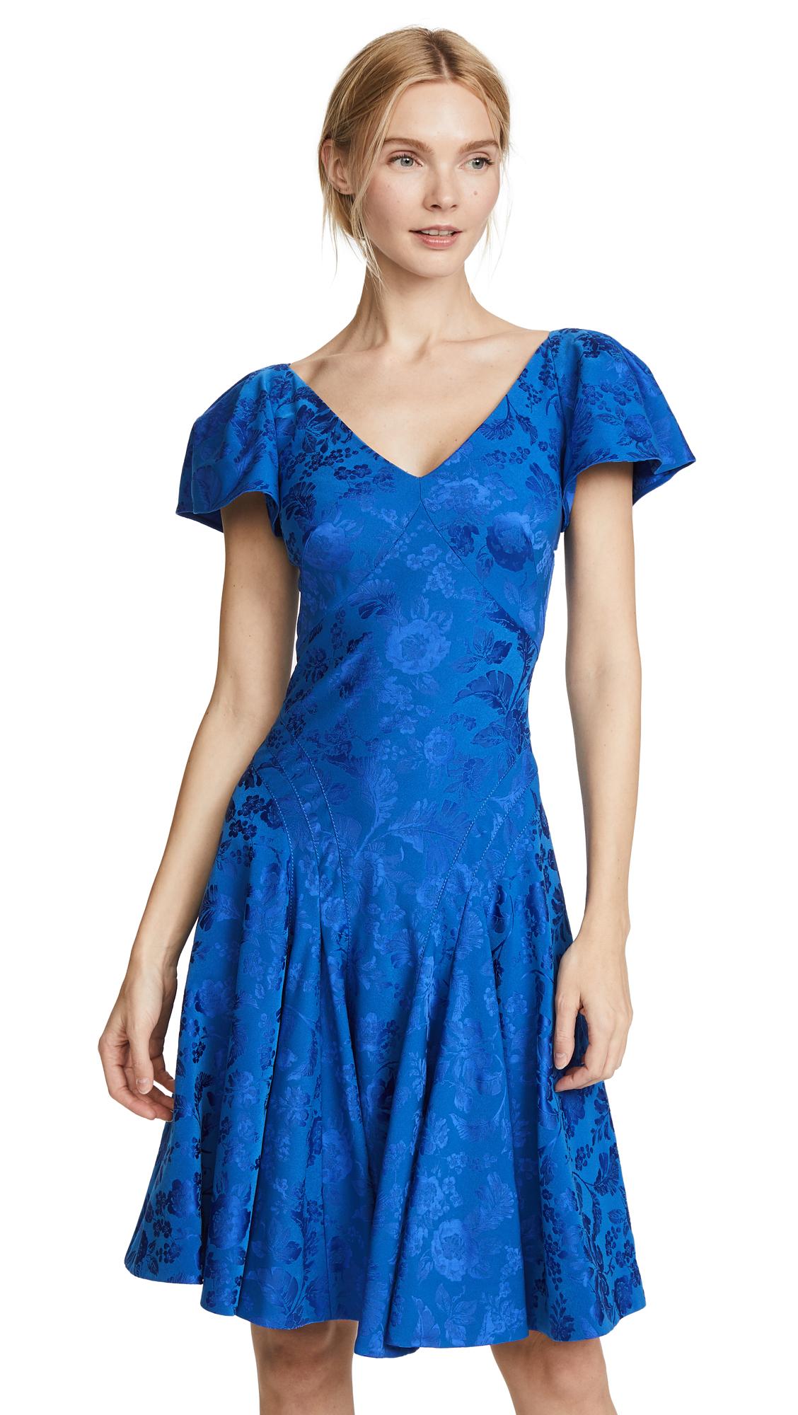 Zac Posen V Neck Flutter Sleeve Midi Dress - Royal Blue