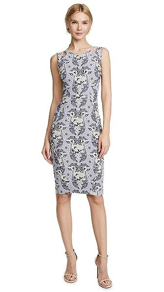 Zac Posen Sleeveless Dress In Multi Grey/Blue