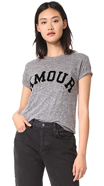 Zadig & Voltaire Amour Distressed Tee In Gris Chine
