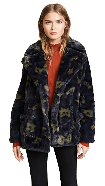 Zadig & Voltaire Miles Leopard Faux Fur Pea Coat In Canard